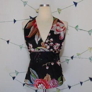 Cache Floral Print Lace Silk Halter Top Blouse